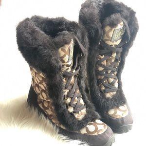 Coach Jennie Signature Fur Boots